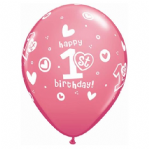1st Birthday Girl - 11 Inch Balloons 25pcs
